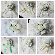 Wedding Silk White Tea Rose Buds Styles Ribbon Wrist Corsage Artificial Flowers