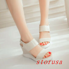Women High Wedge Heel Summer Sandals Open Toe Ankle Strappy Platform Shoes Size