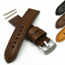 Watch Strap in Genuine Leather, Vintage Style Band with Waterproofed Upper