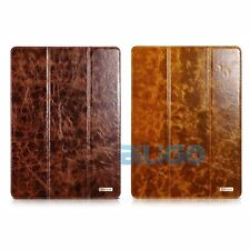 Icarer Oil Wax Real Leather Smart Slim Cover Case Stand For ipad Pro 9.7''/12.9""