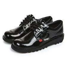 Kickers Kick Lo Womens Black Patent Leather School Work Shoes