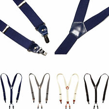 New Mens Women Clip-On Leather Elastic Suspenders Y-Shape Adjustable Braces Belt