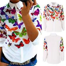 Fashion Women Loose Chiffon Tops Long Sleeve Shirt Casual Blouse Floral Printed