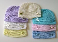 CROCHET BABY HAT EMBELLISHED OR BASIC BEANIE CLOCHE CAP KUFI PHOTO PROP