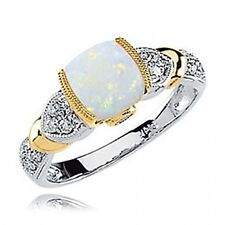 14k White and Yellow Gold Opal, Tanzanite and Diamond Cabochon Ring - 0.14cttw