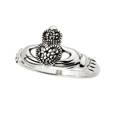 Claddagh Ring Sterling Silver & Marcasite Sz 4-10 Irish Made