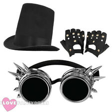 3 PIECE STEAMPUNK STOVEPIPE HAT, SILVER GOGGLES + GLOVES VICTORIAN FANCY DRESS
