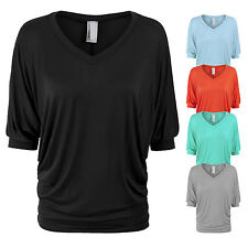 Women's Rayon Solid Basic 3/4 Sleeve V-Neck Tunic Top Made in USA-139