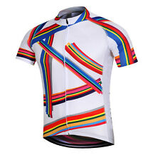 Rainbow Men's Cycling Jersey Shirt Bike Bicycke Cycle Short Jersey Tops S-5XL