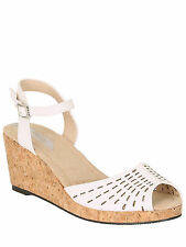 Betsy Womens Ladies White Low Cork Wedges Ankle Strap Peep Toe Sandals