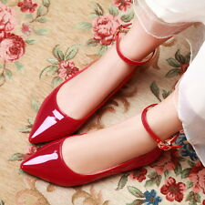 Womens Girls Flat Oxfords Sweet Candy Ankle Strap Pump Shoes Plus SIze EUR 34-43