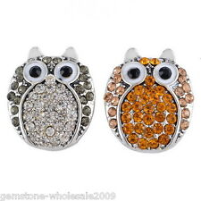 W09 Wholesale Lots Regular Mixed Owl Snap Buttons Crystal Rhinestone Jewelry