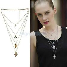 Vintage Women Fashion Multi-Layer Chain Geometry Charms Pendant Necklace Gift