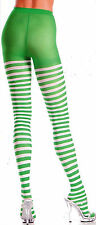 Be Wicked 406 Tights Elf Pantyhose Striped Lycra One Size: Regular Green & White