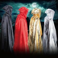 Hooded Cloak Cape Halloween Robe Wedding Witch Wicca Party Cosplay Fancy Dress