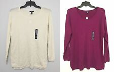 GAP Woman Scoop Neck Long Sleeve Thin Sweater Top Cream & Plum XS, L & XXL NWT