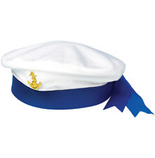 Mens Sailor Man fancy dress costume Blue White striped TSHIRT + HAT outfit Stag