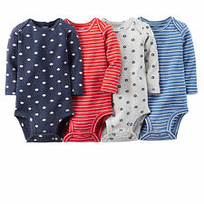Baby Boy Clothes Carters 4-Pack Bodysuits Sz 3 6 9 12 18M Football Long Sleeve