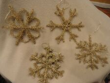 Christmas Ornament Gold Twisted Wire Snow Flakes Vintage Style