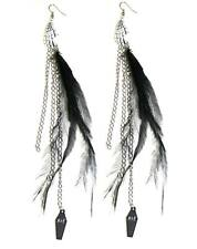 Too Fast Skeleton Feather Earrings Rockabilly Gothic Punk Glam Moto Tattoo Pinup