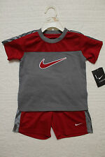 NEW BOYS NIKE 2 PIECE SET SHIRT AND SHORTS OUTFIT $40 RED GRAY