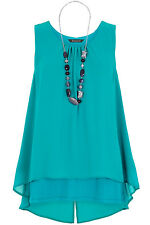 Bonmarche Womens Green Double Layer Top & Necklace - Up To Size 22