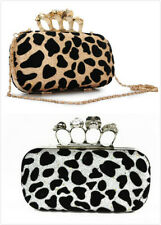 Fashion Skull Head Ring Gold Leopard Clutch Bag Purse Lady's Noble Evening Bags