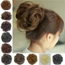 Wavy Curly Synthetic Bun Cover Hairpiece Clip in Scrunchie Hair Extensions ChF6
