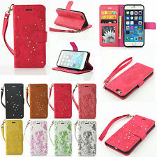 Flip Embossed PU Leather Wallet Stand Cover Card Slot Butterfly Case For phone