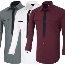 Top Designed Sexy Men's Slim Fit Patched Long Sleeve Casual Dress Shirts S~XL
