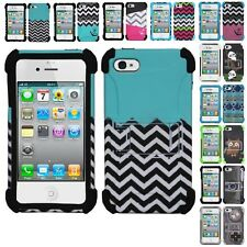 For Apple iPhone 4 / 4S Design Armor Kickstand Case Hybrid Hard Skin Phone Cover