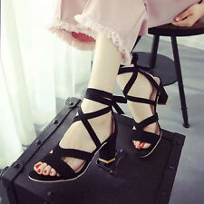New Women Bandage Sexy Chunky Ladies Peep Pointed Toe Slingbacks Pumps Sandals K