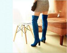 New Women block Heel Over The Knee Thigh High Leg Faux suede Knee Party Boots