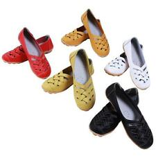 2016 Womens Casual Leather Ballet Flats Shoes Ladies Oxfords Hollow Loafers LJ