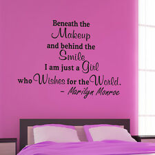 Beneath the makeup-pick color & size Marilyn Monroe Wall Quote Decal