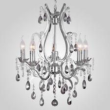 French Provincial Smokey Gray Crystal Candelabra Chandelier Pendant 5 Arm Chrome