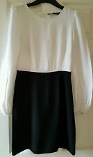 Zara monochrome black and white smart dress balloon long sleeves size s