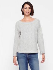 Eileen Fisher Cotton Twisted Terry Bateau Neck Box Top, Ash, PL, NWT