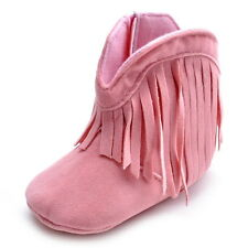 Infant Baby Girls Tassel Cowboy Boots Toddler Booties Shoes Cotton Soft Sole