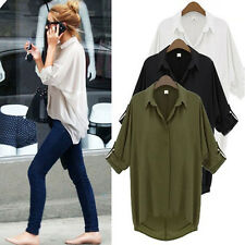 New Womens Casual Long Sleeve Chiffon Shirt Turn-down Collar Loose Tops Blouses