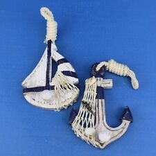 Handcrafted Nautical Decor 2 Piece Sailboat Anchor Wall Décor