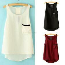 Chic Women Oversized Sheer Chiffon Sleeveless Shirt Pocket Vest Tank Blouse Tops