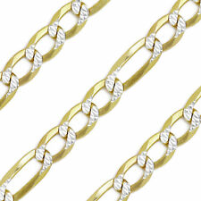 Figaro Link Chain 14k Yellow Gold Sterling Silver Necklace 3.2mm