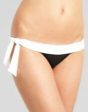 Caprice Lady Spike Bikini Brief Black White Diamante Side Tie Size 18 NEW