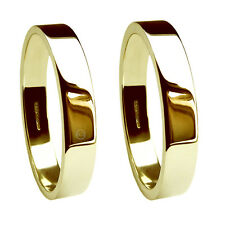 8mm 9ct Yellow Gold Wedding Rings Flat Profile UK HM 375 Med Hvy & X Heavy Bands