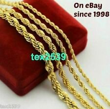 Ladies Men's Rope Necklace 18K Gold Plated 2, 3, 4, &  6, MM  LIFETIME WARRANTY