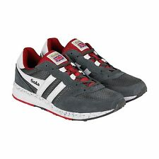 Gola Samurai Mens Gray Red Nylon Lace Up Sneakers Shoes