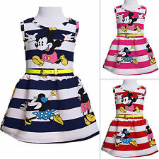 New Baby Kids Girls Princess Party Mickey Stripe Vacation Summer Mini Dress 2-7Y