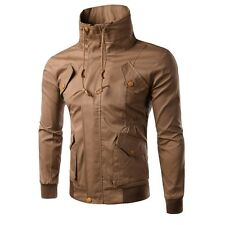 NEW COOL Men's Stylish Slim Fit Casual Jackets Stand Collar Outerwear Coat Tops