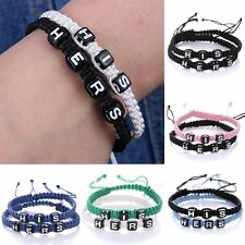 2pcs His &Hers Hand Woven Lettering Braided Wristband Bracelet Bangle For Lovers